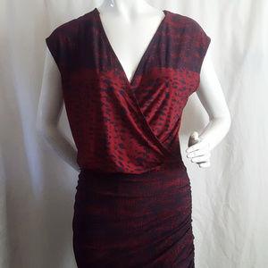 BCBGMAXAZRIA Jersey Wrap Ruched Speckle Dress XS